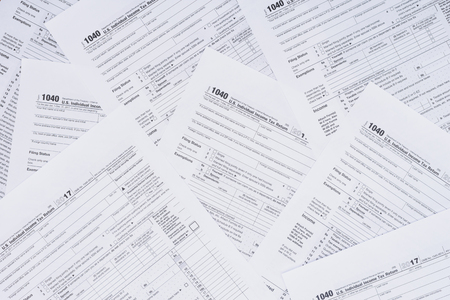 Photo pour Top view of background with tax forms and copy space - image libre de droit
