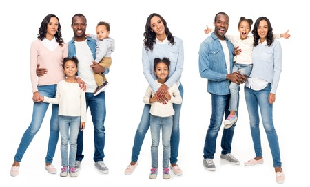 Photo pour Collage of african american family isolated on white - image libre de droit