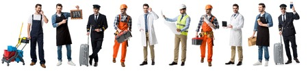 Photo pour collage of handsome man showing different professions isolated on white - image libre de droit