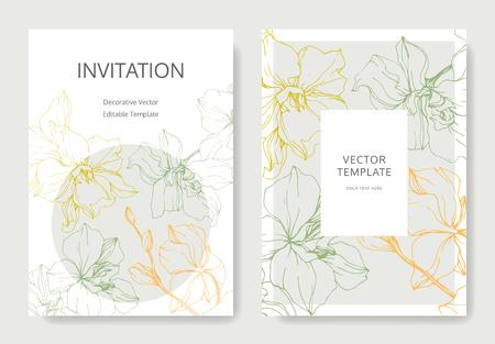 Vector Yellow, green and orange Orchid flower. Engraved ink art. Wedding background card floral decorative border. Thank you, rsvp, invitation elegant card illustration graphic set banner.