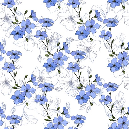 Photo pour Vector. Blue flax. Floral botanical flower. Spring leaf wildflower. Engraved ink art. Seamless pattern on white background. Fabric wallpaper print texture. - image libre de droit