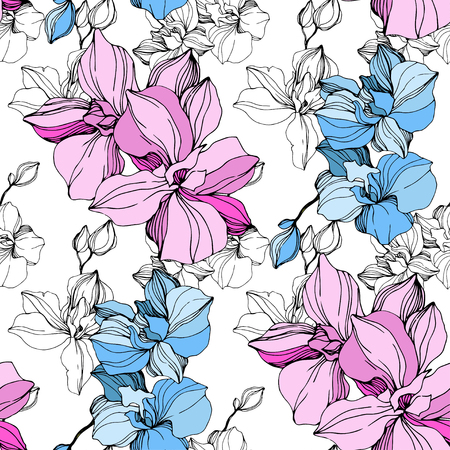 Vector Pink and blue orchid. Floral botanical flower. Wild spring leaf wildflower isolated. Engraved ink art. Seamless background pattern. Fabric wallpaper print texture.