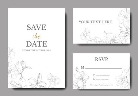 Vector. Orchid botanical flower. Gray and white engraved ink art. Wedding background card floral decorative border. Thank you, rsvp, invitation elegant card illustration graphic set banner.