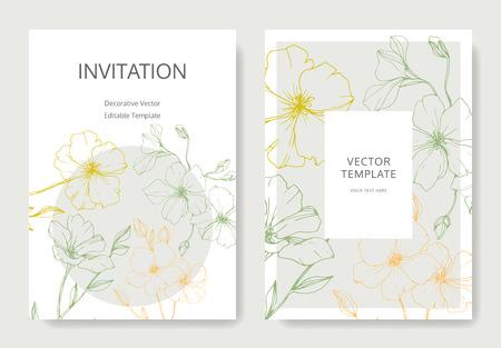 Ilustración de Vector. Flax flower. Engraved ink art. Wedding white background card floral decorative border. Thank you, rsvp, invitation elegant card illustration graphic set banner. - Imagen libre de derechos