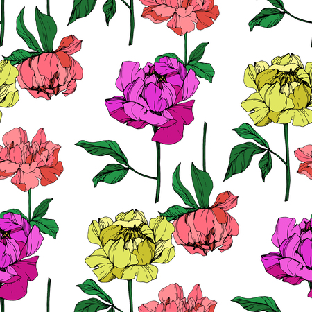 Photo pour Vector Purple and yellow peony floral botanical flower. Wild spring leaf wildflower isolated. Engraved ink art. Seamless background pattern. Fabric wallpaper print texture. - image libre de droit