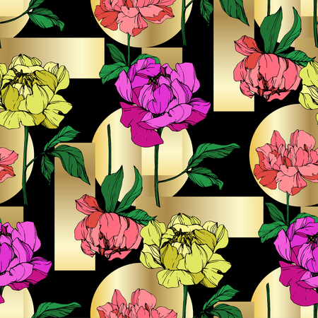 Vector Purple And Yellow Peony Floral Botanical Flower Wild