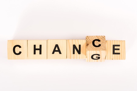 Photo pour top view of change word made with wooden blocks isolated on white - image libre de droit