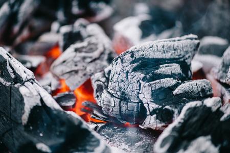 Photo pour selective focus of hot burning coals in ash - image libre de droit