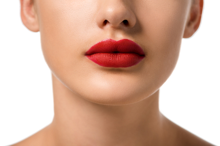 Photo pour cropped view of girl with red lips isolated on white - image libre de droit