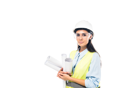 Photo pour Engineer in hardhat and goggles holding blueprints isolated on white - image libre de droit