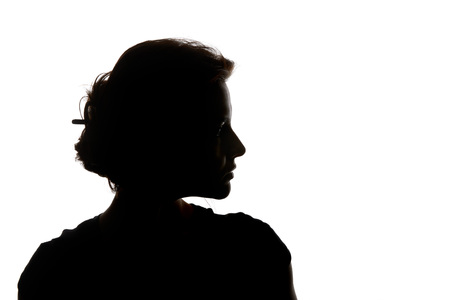 Photo pour Silhouette of pensive woman looking away isolated on white - image libre de droit