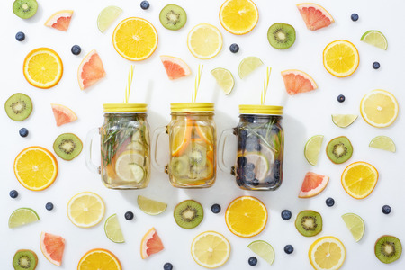 Photo for Top view of jars with fruit - Royalty Free Image