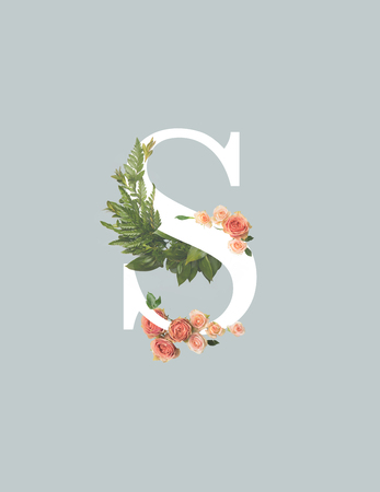 Foto de white letter S with roses and green fern leaves isolated on grey - Imagen libre de derechos