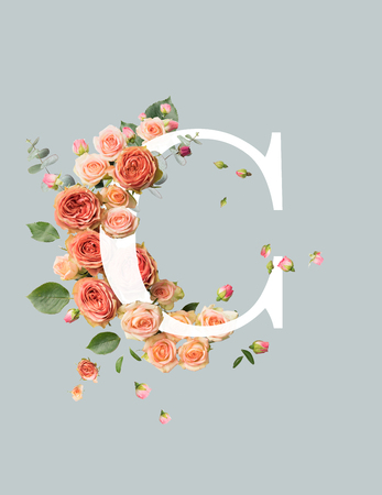 Foto de white letter C with beige roses and green leaves isolated on grey - Imagen libre de derechos