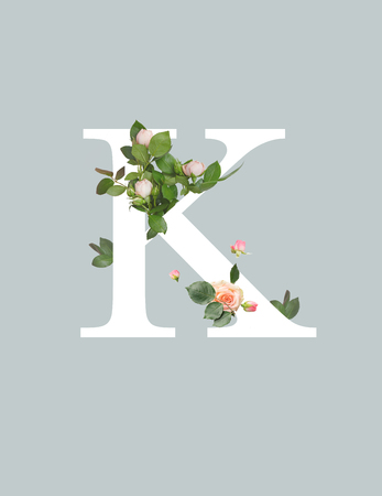 Foto de white letter K with roses and green leaves isolated on grey - Imagen libre de derechos