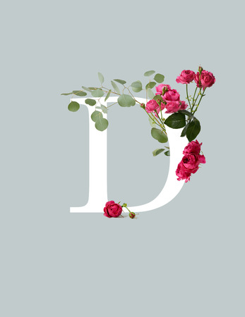 Photo pour White letter D with pink roses and green leaves isolated on grey background - image libre de droit