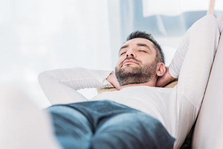 Photo for Selective focus of handsome bearded man resting with eyes closed - Royalty Free Image