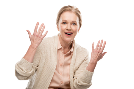 Photo pour Excited middle aged woman Gesturing with hands isolated on white background - image libre de droit