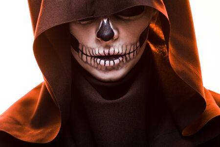 Photo pour Woman with skull makeup in death costume isolated on white background - image libre de droit
