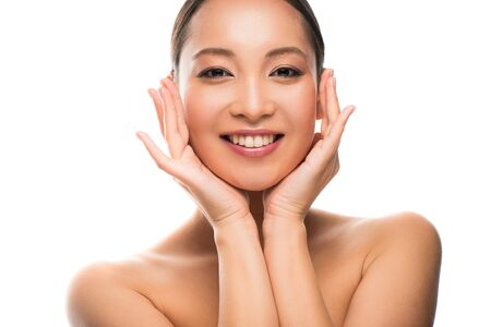 Photo pour Beautiful smiling Asian girl with perfect skin, isolated on white background - image libre de droit