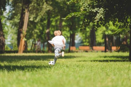 Foto de back view of boy playing football in park during daytime - Imagen libre de derechos