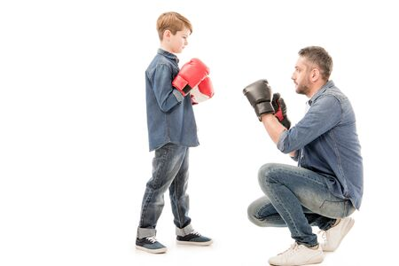 Photo for father and son in boxing gloves isolated on white - Royalty Free Image