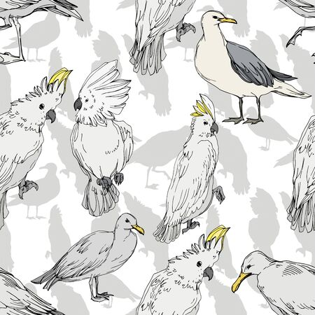 Foto de Vector Sky bird cockatoo in a wildlife. Wild freedom, bird with a flying wings. Black and white engraved ink art. Seamless background pattern. Fabric wallpaper print texture. - Imagen libre de derechos