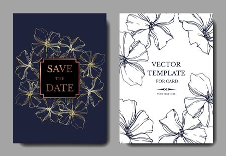 Foto de Vector Flax floral botanical flowers. Black and white engraved ink art. Wedding background card floral decorative border. Thank you, rsvp, invitation elegant card illustration graphic set banner. - Imagen libre de derechos