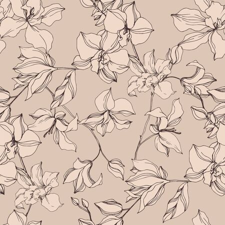 Photo pour Vector Orchid floral botanical flowers. Wild spring leaf wildflower isolated. Black and white engraved ink art. Seamless background pattern. Fabric wallpaper print texture. - image libre de droit