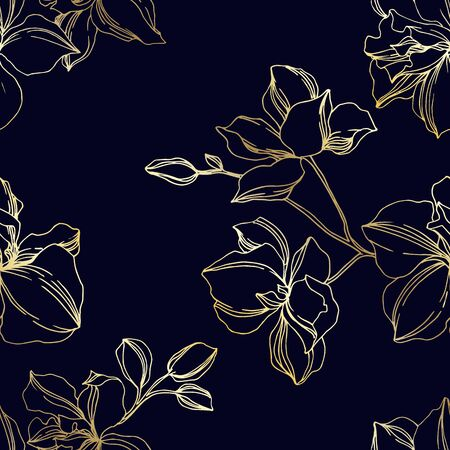 Photo pour Vector Orchid floral botanical flowers. Wild spring leaf wildflower isolated. Black and gold engraved ink art. Seamless background pattern. Fabric wallpaper print texture. - image libre de droit