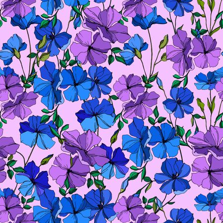 Photo pour Vector Flax floral botanical flowers. Wild spring leaf wildflower isolated. Blue and violet engraved ink art. Seamless background pattern. Fabric wallpaper print texture. - image libre de droit