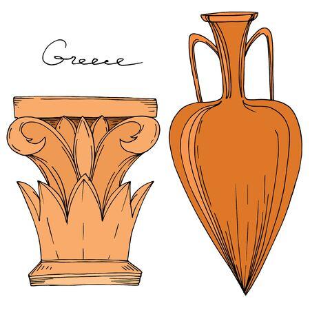 Illustration pour Vector Antique greek amphoras and columns. Black and white engraved ink art. Isolated ancient illustration element on white background. - image libre de droit