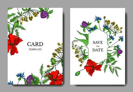 Illustration pour Vector Wildflowers floral botanical flowers. Black and white engraved ink art. Wedding background card decorative border. Thank you, rsvp, invitation elegant card illustration graphic set banner. - image libre de droit