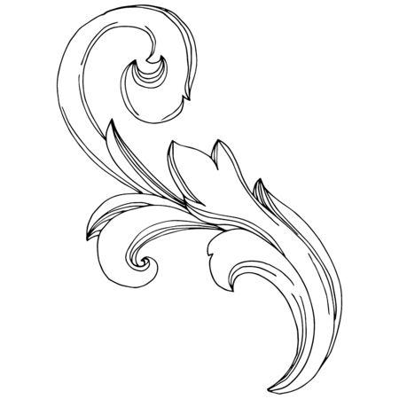Ilustración de Vector Baroque monogram floral ornament. Baroque design isolated elements. Black and white engraved ink art. Isolated monogram illustration element. - Imagen libre de derechos