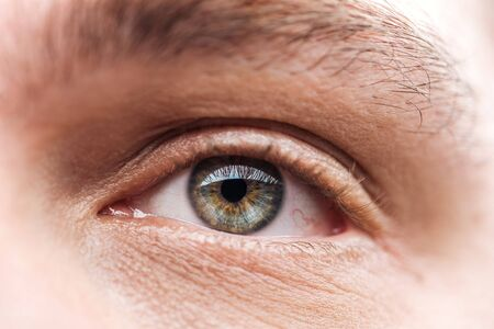 Photo pour close up view of adult man eye with eyelashes and eyebrow looking away - image libre de droit