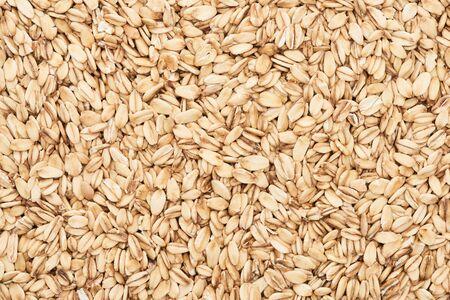 Photo pour top view of raw pressed organic oats - image libre de droit
