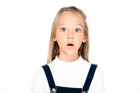 Photo for cute, shocked schoolgirl looking at camera isolated on white - Royalty Free Image