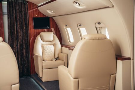 Photo pour luxury, comfortable and modern cabin of private plane - image libre de droit