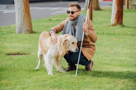 Photo pour Smiling blind man with walking stick petting guide dog on lawn - image libre de droit