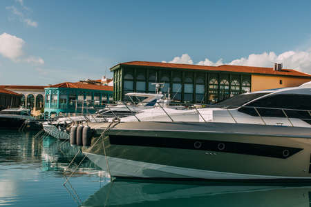 Photo pour sunshine on docked and modern yacht in mediterranean sea - image libre de droit