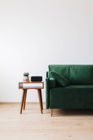 Photo pour green sofa with pillow and wooden coffee table with plant and alarm clock - image libre de droit