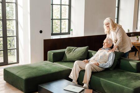 Foto für happy senior husband and wife doing massage and chilling at home on quarantine - Lizenzfreies Bild