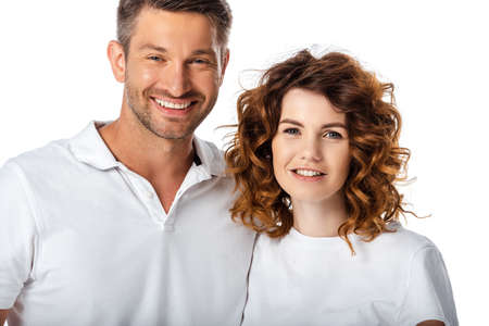 Foto für happy husband and curly wife looking at camera isolated on white - Lizenzfreies Bild