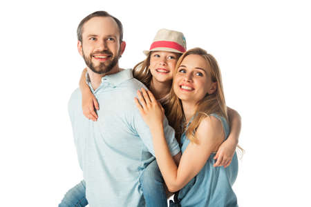 Photo pour happy smiling family embracing isolated on white - image libre de droit