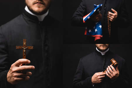 Photo pour collage of priest holding rosary beads, american flag, gavel and cross isolated on black - image libre de droit