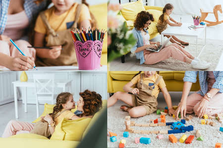 Photo pour collage of nanny working on laptop, playing together and having fun with kid - image libre de droit