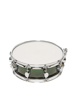Snare drum green on a white background without sticks