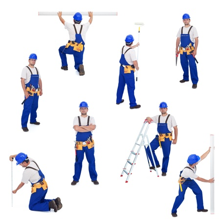 Handyman or worker in different working positions - isolated, collage