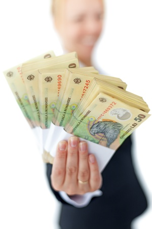 Photo pour Woman holding stacks of romanian currency - shallow depth, isolated - image libre de droit