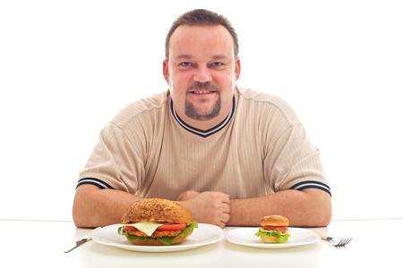 Serving size importance in a healthy diet concept - isolated